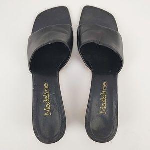 Madeline Black Slip On Low Heel Shoes